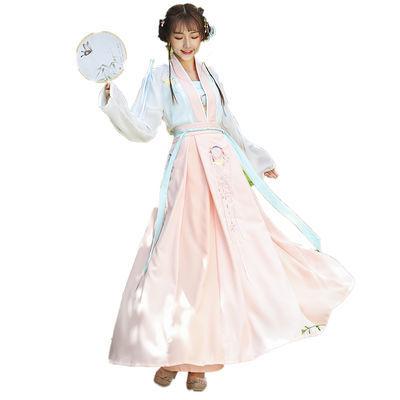 汉服女学生改良日常套装齐腰襦裙超仙清新淡雅中国风古装唐制春夏