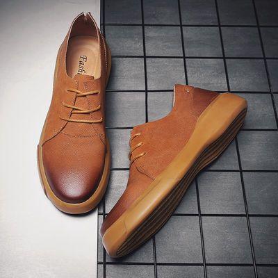 真皮马丁靴男士皮鞋休闲皮鞋男英伦风复古百搭韩版切西尔靴低帮鞋