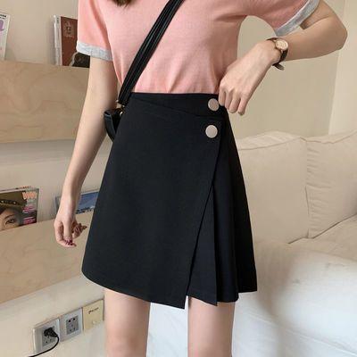 半身裙女2020春秋夏季新款高腰显瘦百搭不规则短裙A字裙黑包臀裙