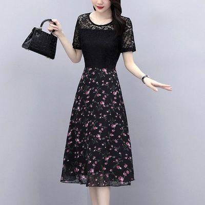 2020夏季大码女装碎花雪纺长裙胖mm胖妹妹蕾丝短袖修身显瘦连衣裙