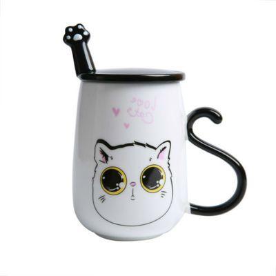 家用创意韩版猫咪陶瓷杯子情侣杯一对个性水杯牛奶马克杯大容量办