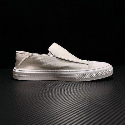 欧洲站男鞋真皮小白鞋男士透气牛皮板鞋简约休闲百搭一脚蹬懒人鞋