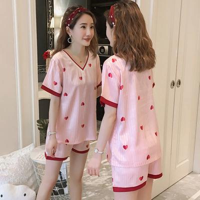 睡衣女夏季薄款冰丝性感短袖两件套装韩版桃心甜美可爱女士家居服