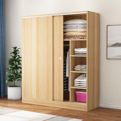 衣柜推拉门实木板式简易收纳柜柜子储物柜儿童衣橱家用卧室家具