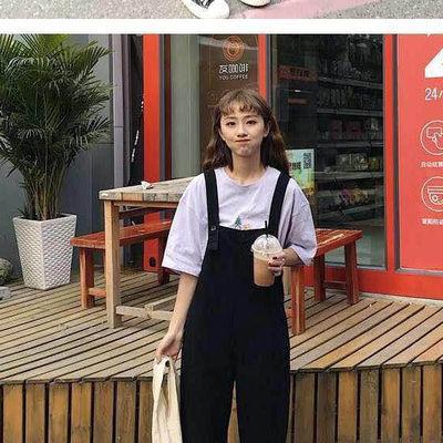 九分背带裤女2019夏新款韩版is可爱学生宽松百搭休闲吊带裤女装潮