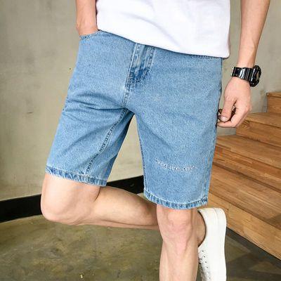 夏季五分裤男韩版潮流牛仔短裤男刺绣百搭款直筒5分裤个性中裤子