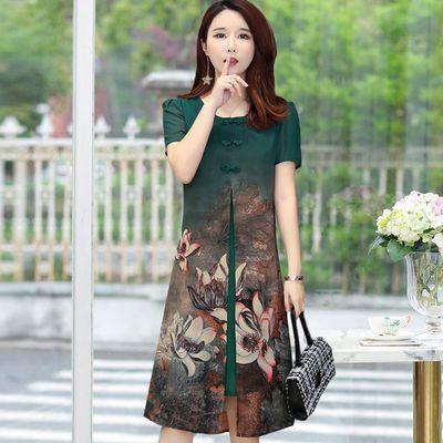 中老年连衣裙妈妈装洋气夏装短袖气质过膝中长款雪纺裙子2012新款