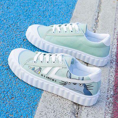 2020春季新款龙猫帆布鞋女小白鞋学生韩版百搭板鞋网红ins运动鞋
