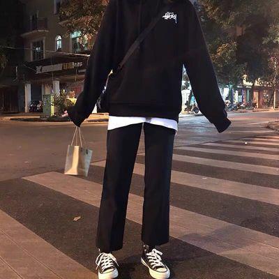 西装裤女直筒学生裤子春夏韩版高腰九分阔腿裤宽松显瘦黑色休闲裤