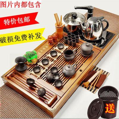 整套实木功夫茶具套装茶盘简约家用四合一电热磁炉紫砂茶道茶台海