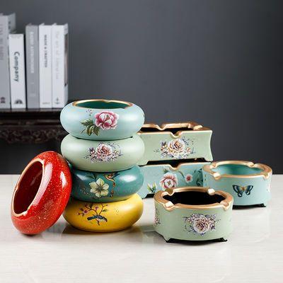 烟灰缸高档创意防飞灰防风带盖摆件欧式客厅茶几陶瓷装饰品摆设