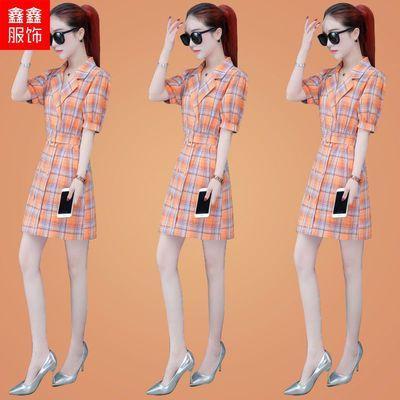 格子衬衫连衣裙女装2020年夏装新款中长款收腰显瘦气质女神范裙子