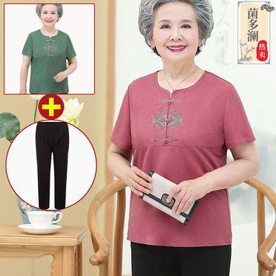 奶奶装夏装短袖t恤70-80-90岁老人衣服老太太夏季衬衣宽松妈妈装