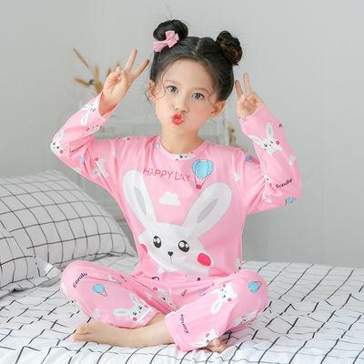 3-13岁儿童睡衣长袖套装可爱卡通春秋季宝宝男女中大童家居服小孩