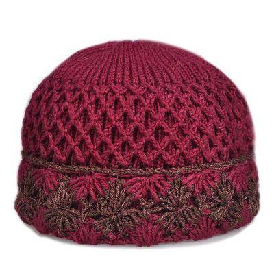 手工编织帽子女自制织老人毛线帽子秋冬女针织盆帽老奶奶帽妈妈帽