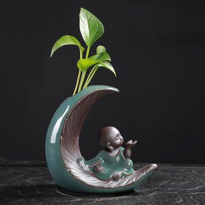 创意水培小花瓶插花器办公桌面装饰摆件迷你陶瓷水养植物花盆绿萝