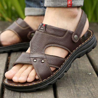 【头层牛皮】真皮男士凉鞋夏季沙滩鞋休闲软底防滑夏天两用男拖鞋