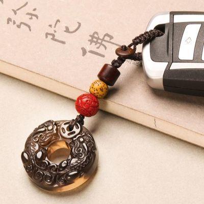 黑曜石平安扣高档貔貅钥匙扣招财汽车钥匙挂件辟邪男女包挂坠饰链