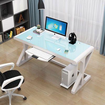 热销电脑台式桌家用简约现代经济型书桌 简易钢化玻璃电脑桌学习