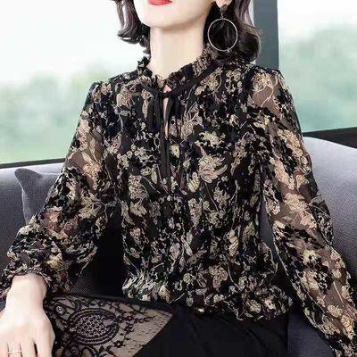 碎花雪纺衫女长短袖2020春夏装新款上衣时尚宽松女士洋气打底衫女
