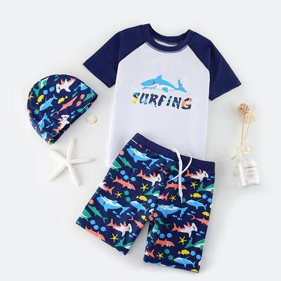 爆款儿童泳衣男童分体小童中大童游泳衣小男孩宝宝泳帽泳裤防晒套