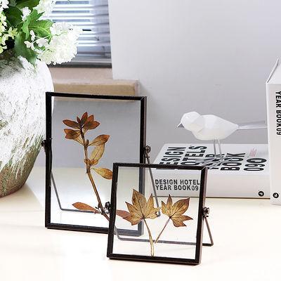 相框北欧ins创意简约黑色金属玻璃相框画框支架桌面几何摆件摆台