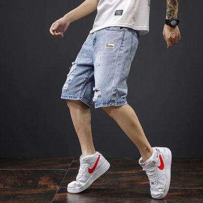 牛仔短裤男士夏季宽松薄款五分裤子破洞直筒马裤潮流百搭七分中裤