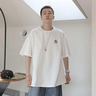 短袖男士学生纯棉T恤圆领夏季青少年宽松上衣ins潮流牌韩版体恤衫