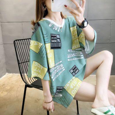 加肥加大码女装夏季新款宽松洋气遮肚胖mm短袖T恤200斤中长款上衣