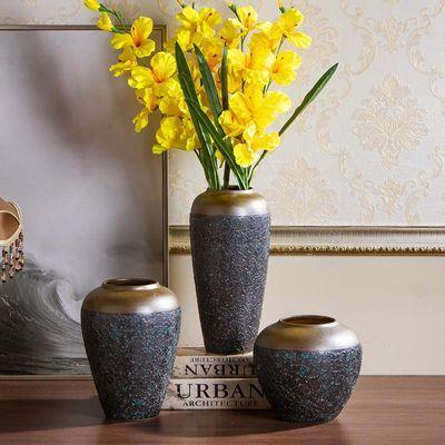 景德镇陶瓷花瓶粗陶干花插花复古做旧土陶罐花盆客厅摆件软装饰品
