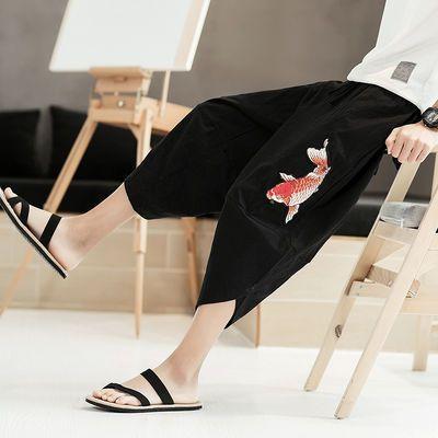 爆款亚麻短裤男宽松中国风刺绣大码七分裤潮男阔腿哈伦裤沙滩裤灯