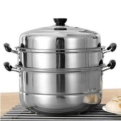爆款不锈钢蒸锅三层加厚家用电磁炉汤锅具蒸格蒸笼馒头3层二2双层