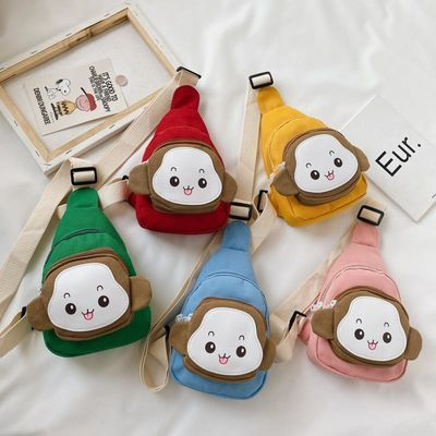 儿童斜挎包时尚小包潮帆布女童童胸包韩国户外出游可爱男童猴子包
