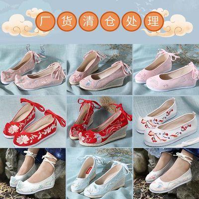 厂货清仓古风布鞋古装鞋子女改良汉服鞋内增高中国风复古绣花鞋