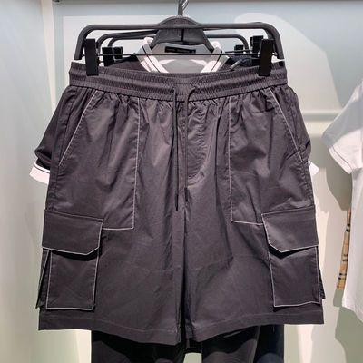 商场同款 鸟家男装夏季新款黑色明线工装多口袋休闲短裤B2GCA2365