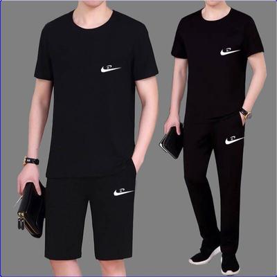 男士休闲运动服男装套装短裤上衣两件套春夏天中青年大码上衣套装