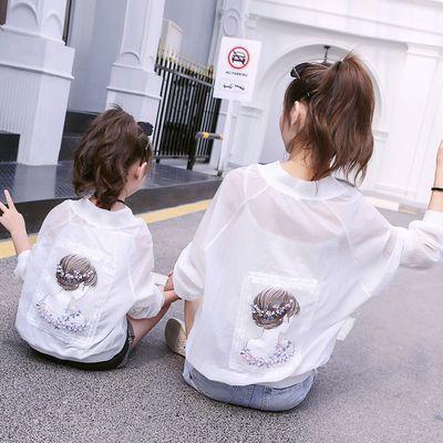 儿童亲子装防晒衣2020夏装洋气母女装女童宽松外套轻薄透气皮肤衣