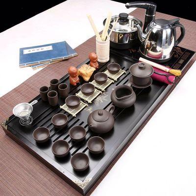 功夫茶具套装特价四合一整套家用实木茶盘紫砂茶杯茶壶茶海电水壶