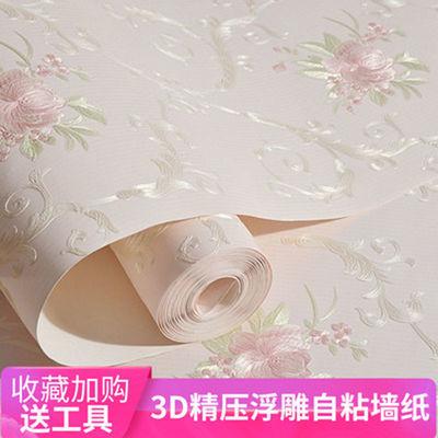 墙纸自粘3D立体温馨欧式田园贴纸女孩卧室房间客厅电视背景墙壁纸