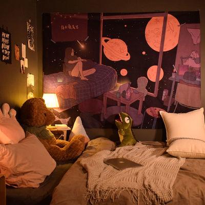 ins网红直播背景布房间布置床头挂布宿舍墙面改造遮丑挂毯装饰画