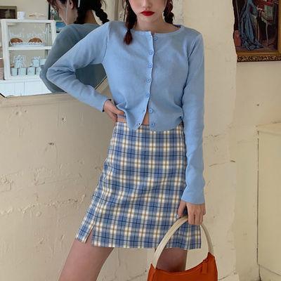 半身裙女夏2020新款紫色裙子高腰蓝色格子裙显瘦春秋A字裙短裙