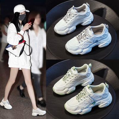 内增高小白鞋女夏季网面透气2020新款流行百搭运动爆款潮老爹鞋