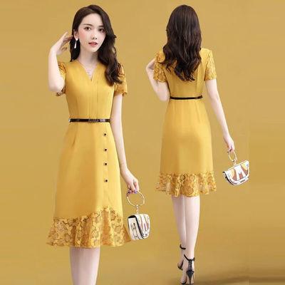 鱼尾裙连衣裙夏季女装2020新款中长款气质短袖蕾丝雪纺裙子高贵潮