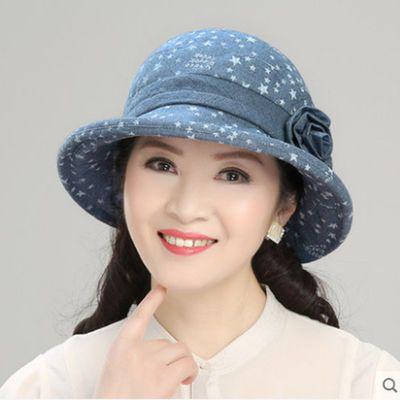 中老年女帽春秋天妈妈盆帽老人帽沿薄布帽中年夏季女帽子遮阳帽子
