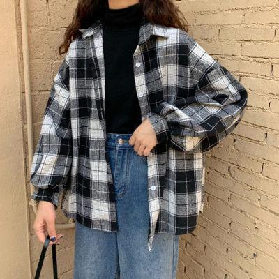 春季原宿蝙蝠袖衬衫女bf风中长款宽松韩版大码格子衬衣开衫外套潮