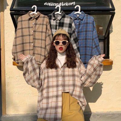 夏季原宿蝙蝠袖衬衫女bf风中长款宽松韩版大码格子衬衣开衫外套潮