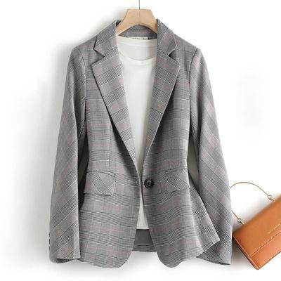 21049/TERRE BLEUE春季新款韩版女装西服时尚宽松显瘦格子小西装外套女