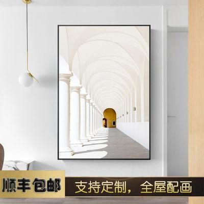 几何元素  现代建筑装饰画办公室玄关过道挂画大幅酒店样板房壁画