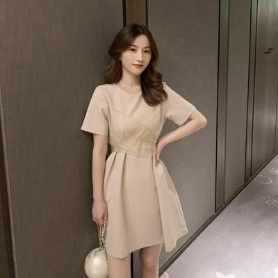 2020夏装新款韩版系带纯色连衣裙女洋气小仙女网纱裙淑女范智熏裙