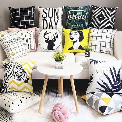 北欧黑白抱枕套ins风几何简约格子条纹双面靠枕沙发卧室床头靠垫